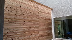 中庭の杉板
